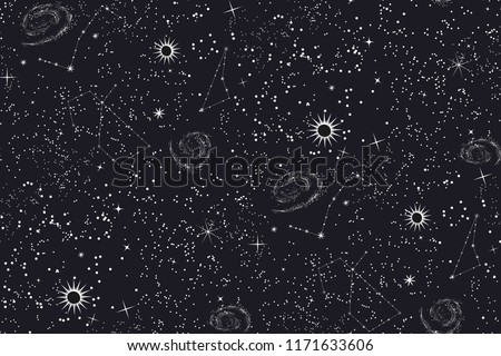 seamless space pattern black