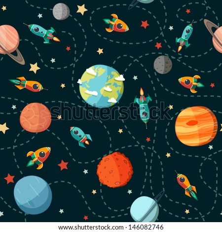 Shutterstock Seamless space pattern. Planets, rockets and stars. Cartoon spaceship icons. Kid's elements for scrap-booking. Childish background. Hand drawn vector illustration.