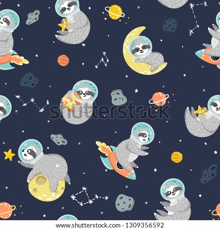 Seamless space pattern with funny sloth astronaut, stars, planets, rockets. Childish background with cute baby sloths sleeping on the moon, sit on the rocket, holding star, hugging planet. Vector