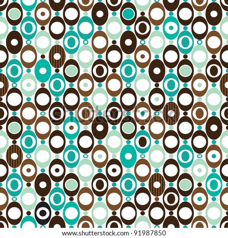 Seamless sphere seventies mod pattern background in vector