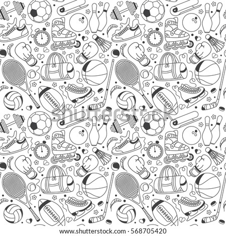 Seamless sport pattern on transparent background. Sport set in hand draw style. Sketchy sport background with tennis, basketball, football, volleyball, hockey, fitness, boxing, running, badminton.