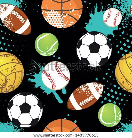 Seamless sport pattern with balls. Repeated backdrop for fashion clothes, t shirt, child, paper. Creative grunge design isolated on black