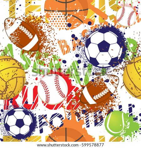 Seamless sport pattern with balls. Repeated backdrop for fashion clothes, t shirt, child, paper. Creative grunge design isolated on white