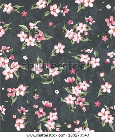 seamless spring blossom flower pattern vector pattern
