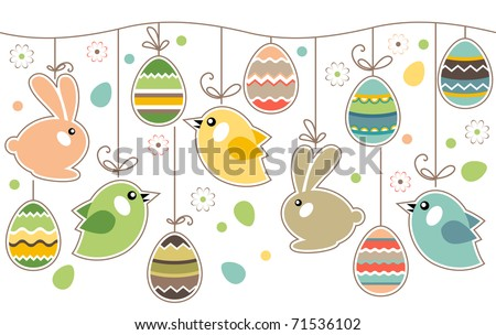 Seamless spring border with easter eggs,birds and rabbits
