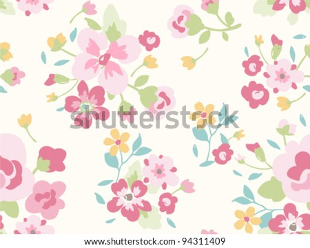 seamless spring cute vintage rose pattern background