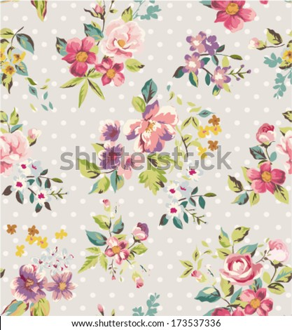 seamless spring flower vector pattern dots background