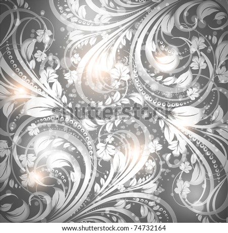 Seamless spring or summer wallpaper pattern silver, vector. Eps 10.