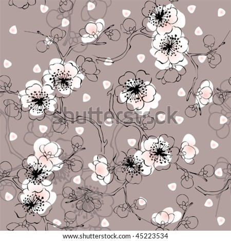 seamless spring pattern of blossom cherry. Will tile endlessly - stock vector