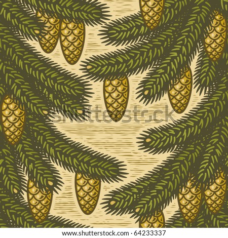 Seamless spruce background. Vector