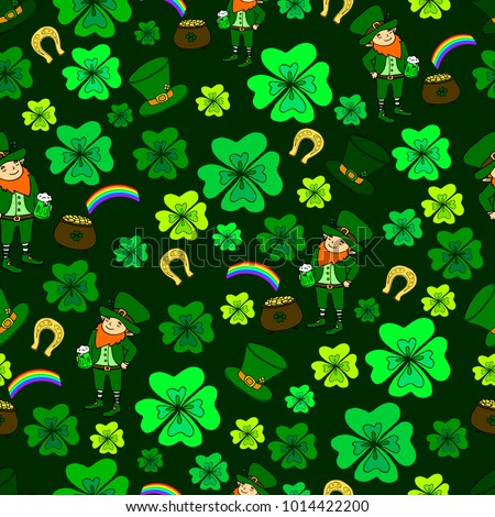 Seamless St. Patrick's Day. Green leprechaun, hat with clover,pot of gold and rainbow,clover, horseshoe, vintage decorative background. Hand drawn vector sign luck. Funny festive card for the holiday.