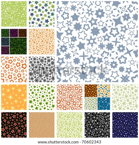 Seamless star patterns. Sparkle magic background. Abstract collection.