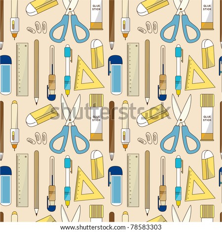 seamless Stationery pattern - stock vector
