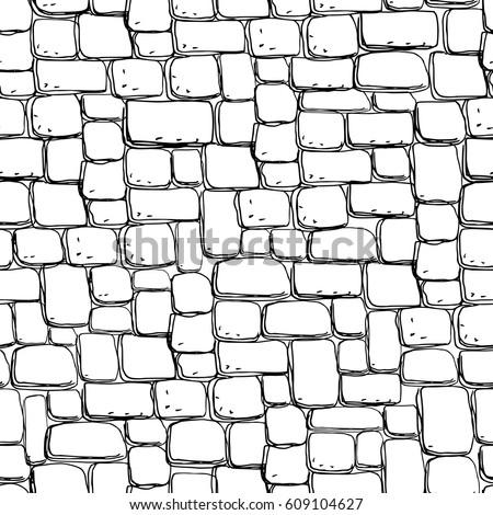Seamless stonework pattern/ Black and white stone wall texture/ Cobblestone pavement background