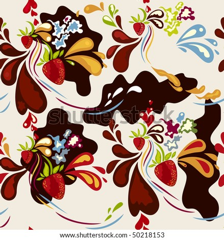 Seamless strawberry & chocolate background vector
