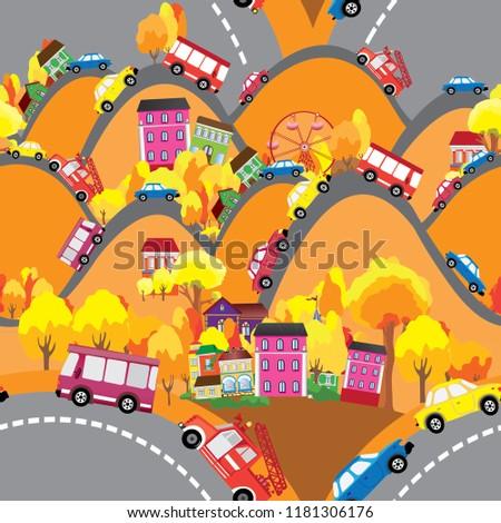 seamless street in autumn #1181306176