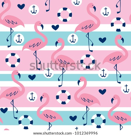 seamless striped flamingo pattern vector illustration