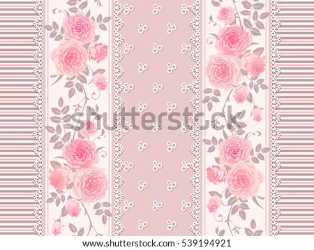 Seamless Striped Pattern With Branches Of Roses And Laces Shabby Chic Background Border
