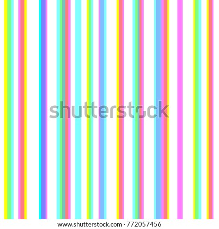 Seamless striped pattern with chromatic aberration effect. CMYK stereoscopic halftone vector. Stereo effect background. Abstract displacement cyan, magenta, yellow typographic color stripes.