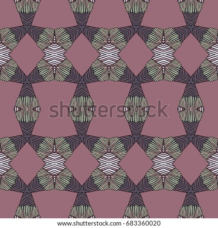 Seamless striped vector pattern. Vintage colored decorative repainting background with tribal and ethnic motifs. Abstract geometric roughly hatched shapes colored with hand drawn brush stokes. #683360020