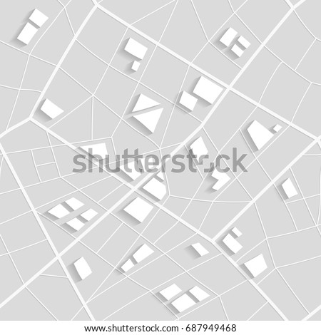 Seamless structure of map of nonexistent city. White pattern of lines and polygons.  #687949468