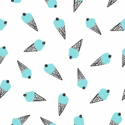 Seamless stylish pattern with ice cream