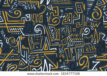 Seamless Stylized African Pattern. Ethnic and Tribal Motifs. Can Be Used for Textile, Prints, Phone Case, Greeting Card or Background ストックフォト ©