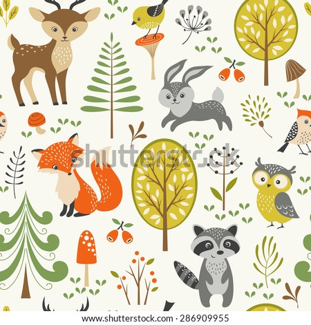 seamless summer forest pattern