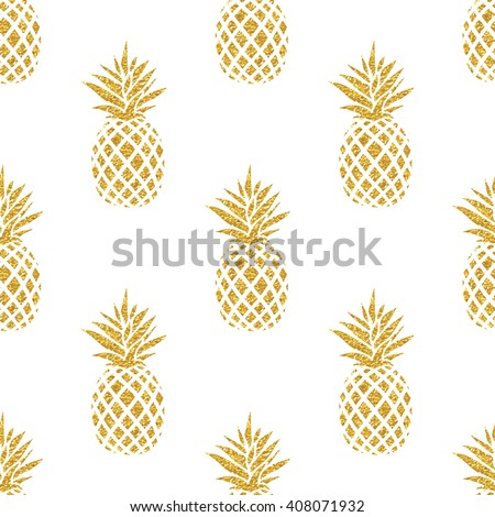 Seamless summer gold pineapple on colored background. Seamless pattern in vector. Fruit illustration ストックフォト ©