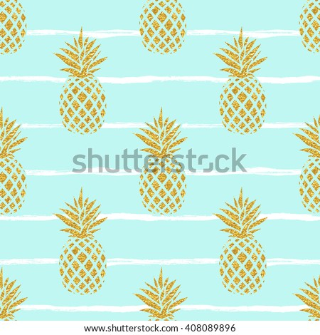 Seamless summer gold pineapple on striped background. Seamless pattern in vector. Fruit illustration