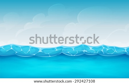 Seamless Summer Ocean Background For Ui Game/\ Illustration of cartoon wide seamless water waves and ocean patterns, for summer holidays vacations landscape, or repetitive background for ui game