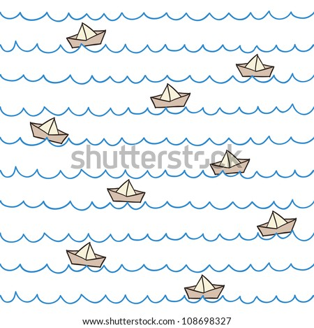 Seamless summer pattern. Boats on waves. Vector illustration