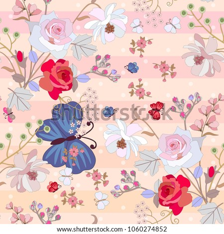 Seamless summer pattern with large blue butterfly , red and pink roses, cosmos and bell flowers on gentle striped background in warm tones, Vector romantic design. Luxury print for fabric.
