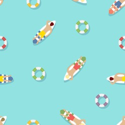 Seamless summer pattern with lifebuoy and surfers on the water.