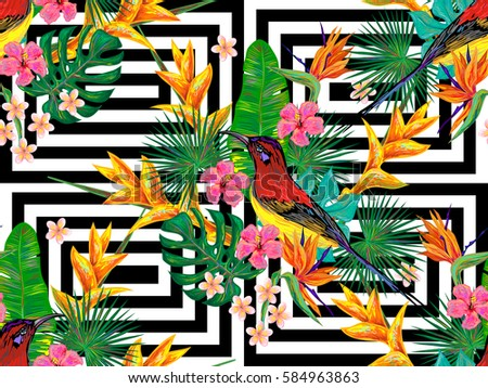Seamless summer tropical pattern with birds, palm leaves and exotic flowers vector background. Perfect for wallpapers, pattern fills, web page backgrounds, surface textures, textile