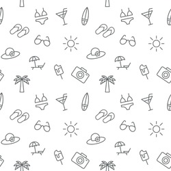 Seamless summer vacation icons pattern grey vector on white background