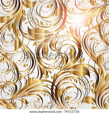 Seamless summer wallpaper pattern gold, vector. Eps 10. - stock vector