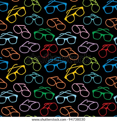 Seamless sun glasses accessories pattern. vector