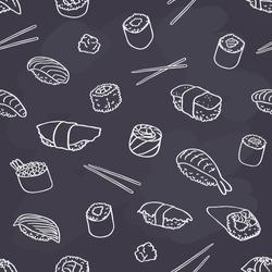 seamless sushi pattern on chalkboard