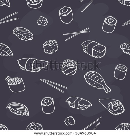 seamless sushi pattern on chalkboard