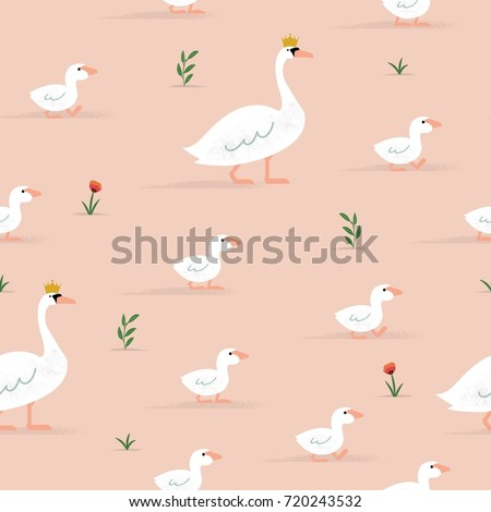 seamless swan pattern with kids