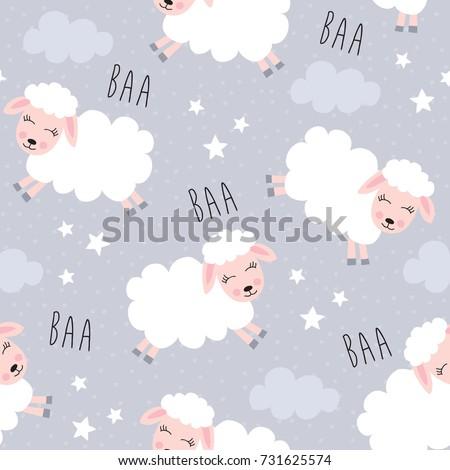 seamless sweet dreams sheep animal pattern vector illustration