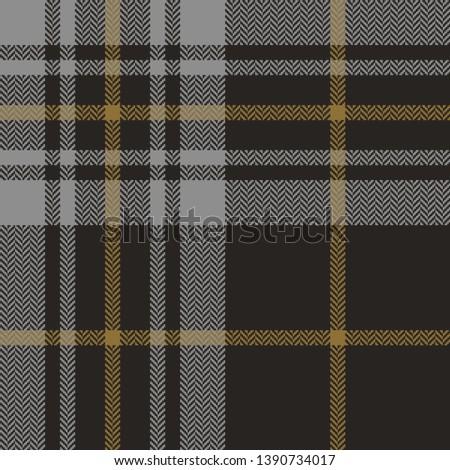 Seamless tartan check plaid pattern vector. Herringbone grey pixel plaid for menswear textile design.