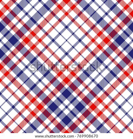 Seamless tartan plaid pattern. Checkered fabric texture print in red, white and blue.