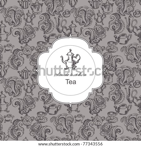 Seamless tea time pattern with card label