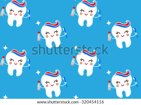 Seamless teeth pattern on blue background. Vector seamless cute pattern with teeth, toothpaste and brush tool. Vector cartoon tooth background.