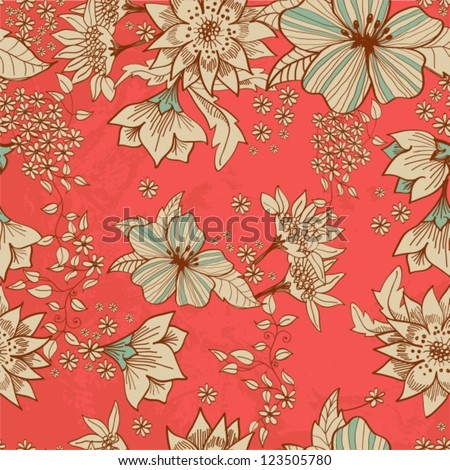 Seamless tender floral background for design, vector