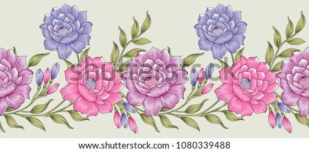 Seamless textile floral border #1080339488