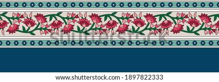 seamless textile flower border pattern