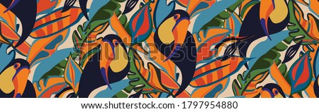 seamless textile trendy vector pattern with toucans on a branch in tropical nature in exotic with tropical leaves abstract painting